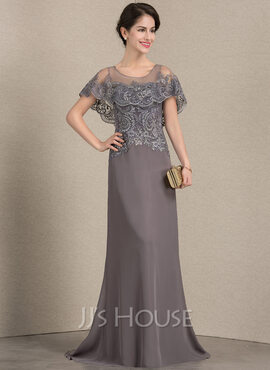 A-Line Scoop Neck Sweep Train Chiffon Lace Mother of the Bride Dress (008143373)