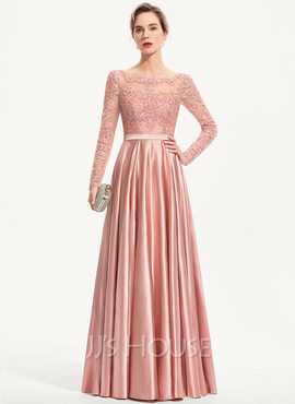 A-Line Scoop Neck Floor-Length Charmeuse Evening Dress With Sequins (017186133)