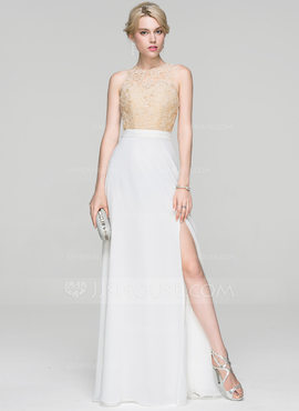 A-Line/Princess Scoop Neck Floor-Length Chiffon Prom Dresses With Split Front (018103282)