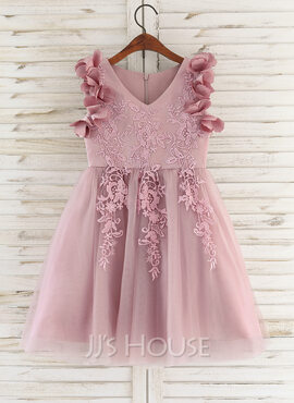 A-Line Knee-length Flower Girl Dress - Satin/Tulle/Lace Sleeveless V-neck With Flower(s) (010172366)