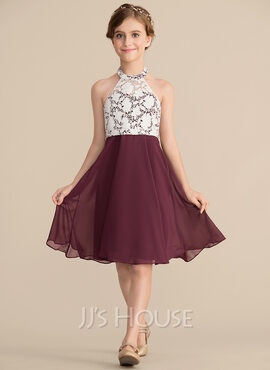 A-Line Scoop Neck Knee-Length Chiffon Lace Junior Bridesmaid Dress (009165014)