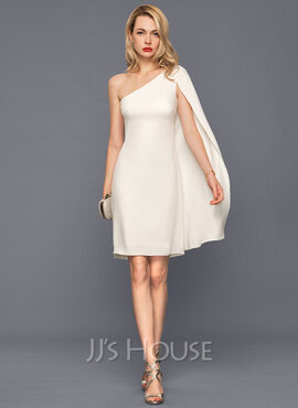 Sheath/Column One-Shoulder Knee-Length Stretch Crepe Wedding Dress (002207434)