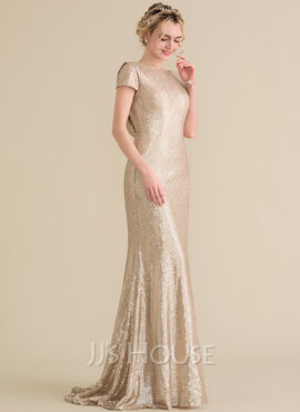 Trumpet/Mermaid Scoop Neck Sweep Train Sequined Bridesmaid Dress With Cascading Ruffles (007144744)