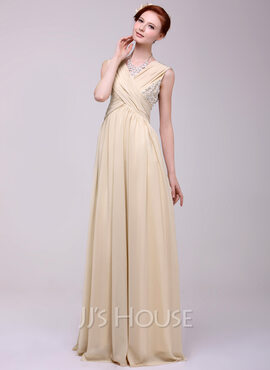 A-Line/Princess V-neck Floor-Length Chiffon Holiday Dress With Ruffle Beading (020025972)
