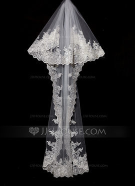 Two-tier Lace Applique Edge Chapel Bridal Veils With Lace (006089556)