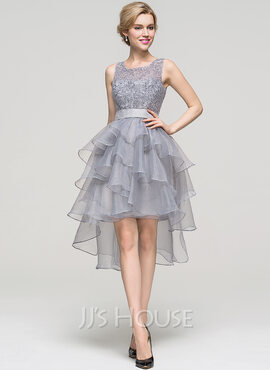 A-Line Square Neckline Asymmetrical Organza Cocktail Dress With Beading (016110560)