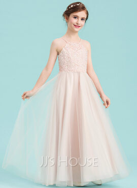 A-Line Square Neckline Floor-Length Tulle Junior Bridesmaid Dress With Beading (009148421)