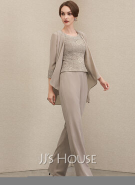 Jumpsuit/Pantsuit Scoop Neck Floor-Length Chiffon Lace Mother of the Bride Dress With Beading Sequins (008204916)