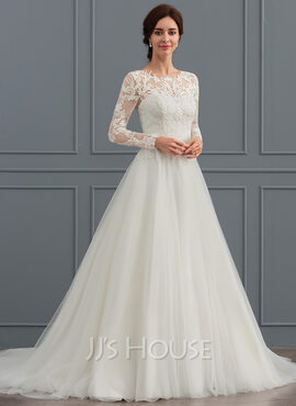 Robe Marquise/Princesse Col rond Balayage/Pinceau train Tulle Robe de mariée (002127265)