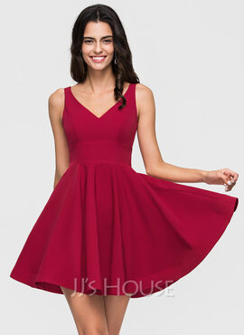 A-Line V-neck Short/Mini Stretch Crepe Prom Dresses (018192830)
