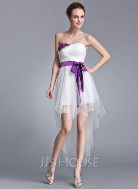 A-Line/Princess Sweetheart Asymmetrical Tulle Holiday Dress With Ruffle Sash Beading Appliques Lace Sequins Bow(s) (020040785)