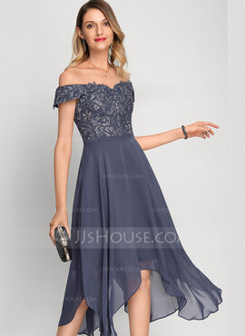 A-Line Off-the-Shoulder Asymmetrical Chiffon Cocktail Dress With Beading Sequins (016212870)