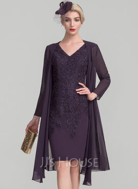 Sheath/Column V-neck Knee-Length Lace Mother of the Bride Dress (008114244)