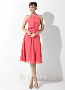 A-Line Halter Knee-Length Chiffon Bridesmaid Dress With Ruffle Bow(s)