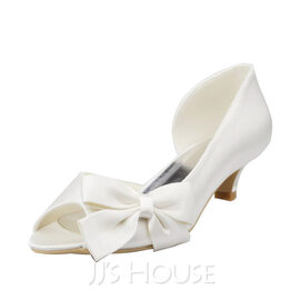 Women's Satin Low Heel Peep Toe Sandals With Bowknot (047087224)