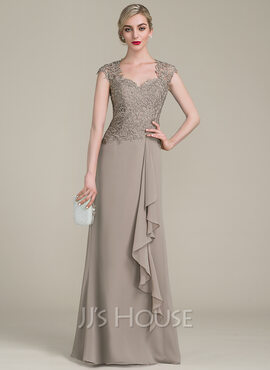 A-Line/Princess Sweetheart Floor-Length Chiffon Lace Mother of the Bride Dress With Cascading Ruffles (008107654)