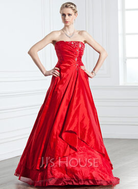 A-Line/Princess Strapless Floor-Length Taffeta Quinceanera Dress With Ruffle Beading (021005238)