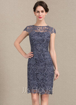 Sheath/Column Scoop Neck Knee-Length Lace Mother of the Bride Dress (008143364)