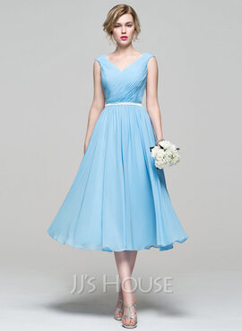 A-Line V-neck Tea-Length Chiffon Bridesmaid Dress With Ruffle (007074187)