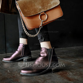 Women's Leatherette Chunky Heel Boots Ankle Boots With Jewelry Heel shoes (088176617)