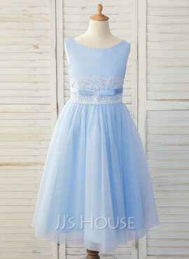 A-Line Tea-length Flower Girl Dress - Satin/Tulle/Lace Sleeveless Scoop Neck With Bow(s) (010183540)