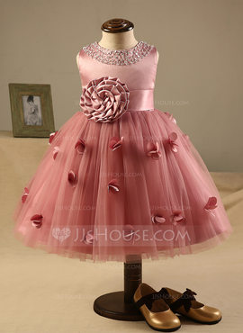 A-Line/Princess Knee-length Flower Girl Dress - Polyester/Cotton Sleeveless Scoop Neck With Flower(s)/Bow(s)/Rhinestone (010095991)
