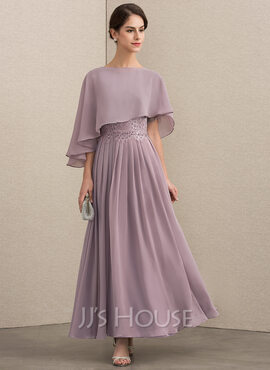 A-Line Scoop Neck Ankle-Length Chiffon Lace Mother of the Bride Dress With Beading Sequins (008152152)