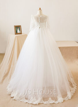 A-Line/Princess Floor-length Flower Girl Dress - Tulle/Lace Long Sleeves Bateau With Appliques (010103715)