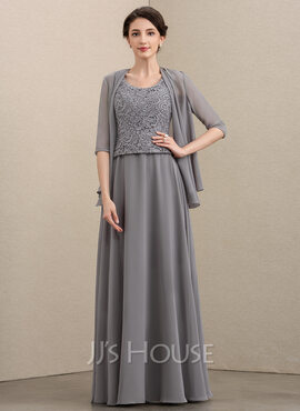 A-Line Scoop Neck Floor-Length Chiffon Lace Mother of the Bride Dress (008195405)