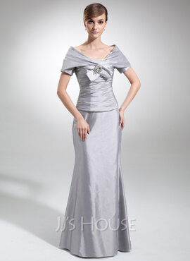 Trumpet/Mermaid Strapless Floor-Length Taffeta Mother of the Bride Dress With Ruffle (008006006)