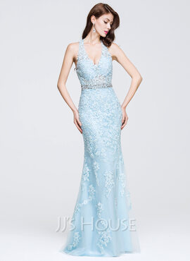 Trumpet/Mermaid V-neck Floor-Length Tulle Prom Dresses With Beading Appliques Lace (018075873)