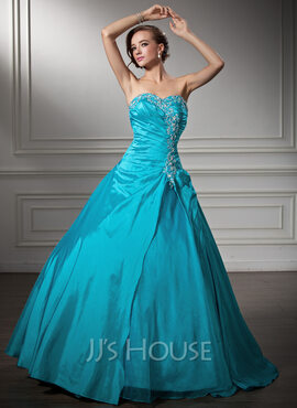 Ball-Gown Sweetheart Floor-Length Taffeta Quinceanera Dress With Embroidered Ruffle Beading Sequins (021003116)