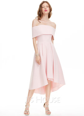 A-Line Off-the-Shoulder Asymmetrical Stretch Crepe Homecoming Dress (022127946)