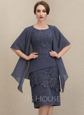 Sheath/Column Scoop Neck Knee-Length Chiffon Lace Mother of the Bride Dress (008204929)