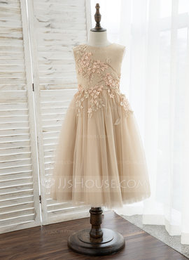 A-Line Tea-length Flower Girl Dress - Satin/Tulle/Lace Sleeveless Scoop Neck (010172383)