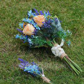Hand-tied Silk Flower Bridal Bouquets (set of 2) - Boutonniere/Bridal Bouquets (123182696)