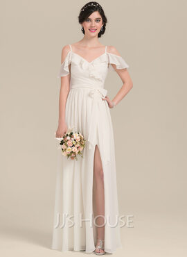 A-Line V-neck Floor-Length Chiffon Bridesmaid Dress With Bow(s) Split Front Cascading Ruffles (007126462)