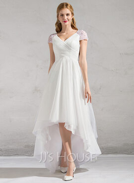 A-Line V-neck Asymmetrical Tulle Wedding Dress With Ruffle Beading Sequins (002081893)