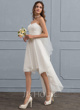 A-Line Sweetheart Asymmetrical Chiffon Wedding Dress With Ruffle (002119804)
