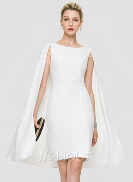 Sheath/Column Scoop Neck Knee-Length Stretch Crepe Wedding Dress (002207433)