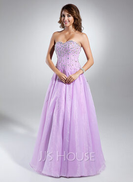 A-Line/Princess Sweetheart Floor-Length Organza Quinceanera Dress With Beading (021015356)