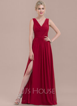 A-Line/Princess V-neck Floor-Length Chiffon Bridesmaid Dress With Ruffle Split Front (266183615)