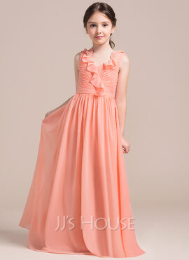 A-Line V-neck Floor-Length Chiffon Junior Bridesmaid Dress With Cascading Ruffles (009087897)