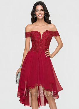 A-Line Off-the-Shoulder Asymmetrical Chiffon Homecoming Dress (022164844)