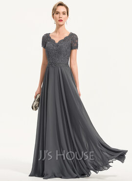 A-Line V-neck Floor-Length Chiffon Evening Dress With Beading (017196741)