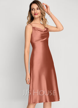 A-Line Cowl Neck Knee-Length Bridesmaid Dress With Split Front (007229642)