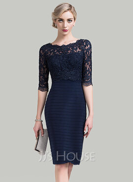 Sheath/Column Scoop Neck Knee-Length Lace Mother of the Bride Dress With Sequins