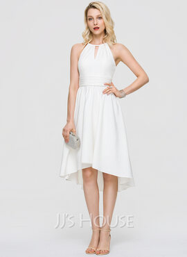 Scoop Neck Asymmetrical Stretch Crepe Cocktail Dress (270209697)