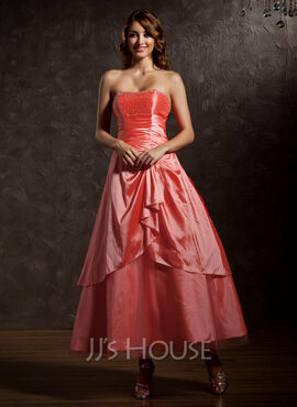 A-Line/Princess Sweetheart Ankle-Length Taffeta Quinceanera Dress With Beading Cascading Ruffles (021013954)