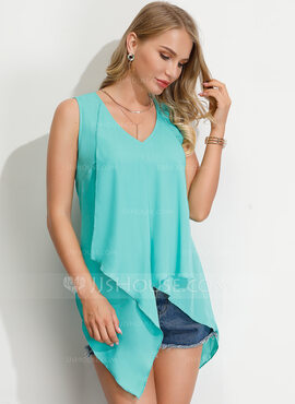 Sleeveless Chiffon V Neck Tank Tops Blouses (1003223613)